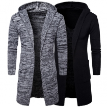 Fashion Long Sleeve Hooded Men's Knit Cardigan