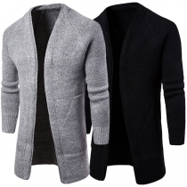 Fashion Solid Color Long Sleeve Slim Fit Men's Knit Cardigan