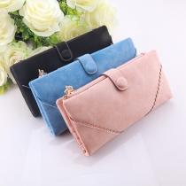 Retro Style Solid Color Long Wallet Clutch