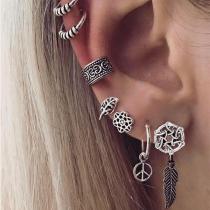 Retro Style Silver-tone Alloy Stud Earring Set 7 pcs/Set