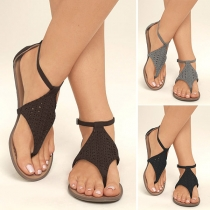 Fashion Solid Color Flat Heel Thong Sandals