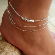 Fashion Silver-tone Multi-layer Anklet
