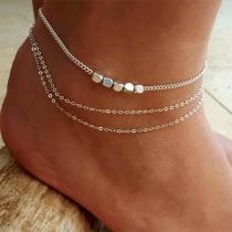 Fashion Silver-tone Multi-layer Anklet