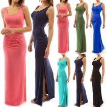 Fashion Solid Color Sleeveless Round Neck Slit Hem Maxi Dress