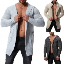Fashion Solid Color Long Sleeve Hooded Men's Knit Cardigan
