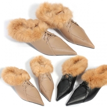 Fashion Pointed Toe Faux Fur Spliced Lace-up High-heeled Shoes