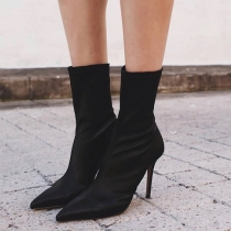 Fashion Pointed Toe High-heeled Solid Color Booties