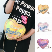 Fashion Embroidered Letters Heart-shaped Shoulder Messenger Bag
