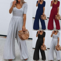 Fashion Solid Color Short Sleeve High Waist Jumpsuit