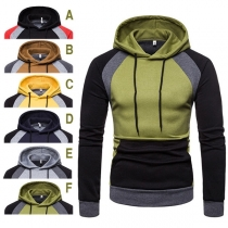 Fashion Contrast Color Long Sleeve Man's Hoodie