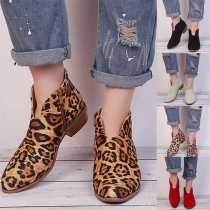 Fashion Flat Heel Round Toe Leopard Printed Shoes