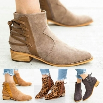 Fashion Thick Heel Round Toe Back Lace-up Booties