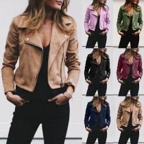 Fashion Solid Color Oblique Zipper Slim Fit Jacket