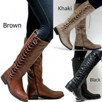 Fashion Flat Heel Round Neck Side Lace-up Boots