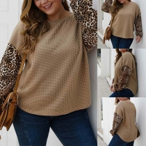 Fashion Leopard Spliced Long Sleeve Round Neck Plus-size Knit Top