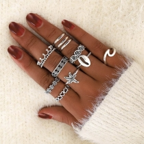 Retro Style Hollow Out Alloy Ring Set 11 pcs/Set