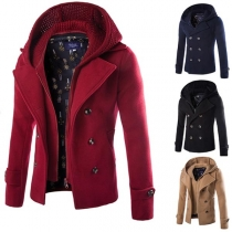 Fashion Solid Color Knit Spliced Hooded Double-breasted Man's Coat