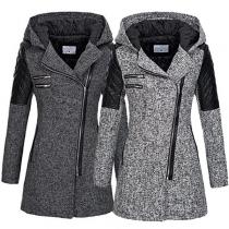 Fashion PU Leather Spliced Long Sleeve Hooded Oblique Zipper Coat(It falls small)