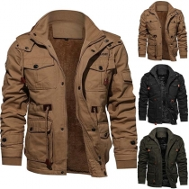 Fashion Solid Color Stand Collar Hooded Man's Jacket (It runs small)