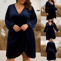Sexy Crossover V-neck Lantern Sleeve Solid Color Plus-size Dress