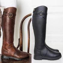 Fashion Flat Heel Round Toe Knee-length Boots