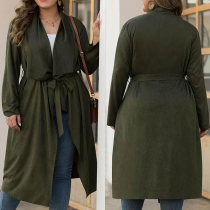 Fashion Solid Color Long Sleeve Lapel Lace-up Thin Cardigan