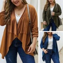 Fashion Solid Color Long Sleeve Lapel Plus-size Cardigan