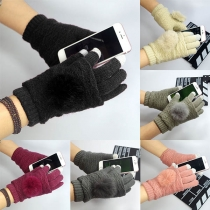 Fashion Contrast Color Hairball Spliced Touch Sensitive Knit Gloves
