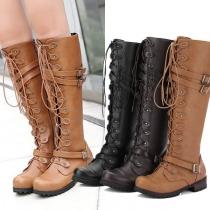 Fashion Flat Heel Round Toe Lace-up Knight Boots