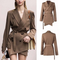 Slim Long Sleeve Irregular hemline Double-breasted Blazer Suit Jacket (with Belt)