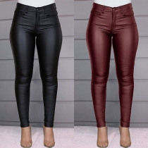 Fashion Solid Color High Waist Slim Fit PU Leather Pants