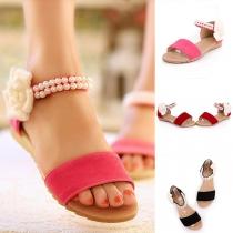 Sweet Style Flat Heel Pearl Inlaid Open-toe Sandals