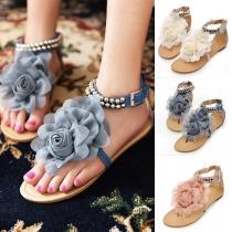 Bohemian Style Flat Heel Flower Thong Sandals