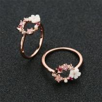 Sweet Style Rhinestone Flower Inlaid Ring