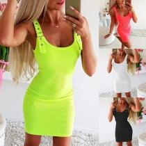 Fashion Solid Color Sleeveless U-neck Slim Fit Dress