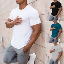 Simple Style Short Sleeve Round Neck Solid Color Man's T-shirt