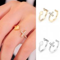 Fashion Rhinestone Inlaid Cross Heart Ring
