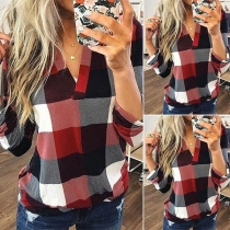 Fashion Long Sleeve V-neck Plaid Blouse