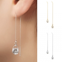 Fashion Rhinestone Pendant Long Chain Asymmetric Earrings Ear-line