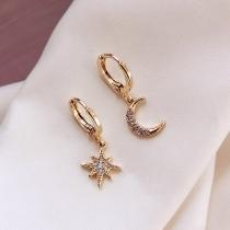 Fashion Rhinestone Inlaid Star Crescent Shape Asymmetric Earrings
