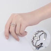 Fashion Rhinestone Inlaid Double-layer Alloy Ring