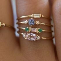 Fashion Rhinestone Inlaid Alloy Ring Set