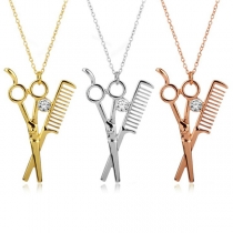 Creative Style Scissors & Comb Pendant Necklace