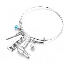 Cretive Style Scissors& Comb & Hair Dryer Pendant Bracelet
