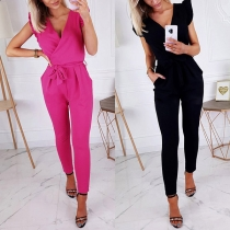 Sexy V-neck Sleeveless High Waist Solid Color Jumpsuit