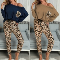 Fashion Long Sleeve T-shirt + Leopard Printed Pants Two-piece Set
