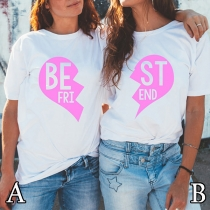 Fashion Heart Letters Printed Short Sleeve Round Neck T-shirt