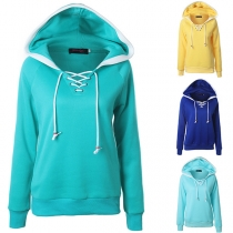 Fashion Contrast Color Long Sleeve Lace-up V-neck Hooded Sweatshirt