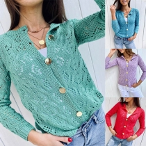 Fashion Solid Color Long Sleeve Single-breasted Hollow Out Knit Cardigan