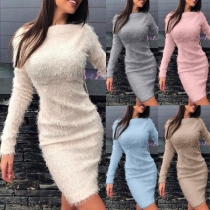 Fashion Solid Color Long Sleeve Round Neck Slim Fit Plush Dress